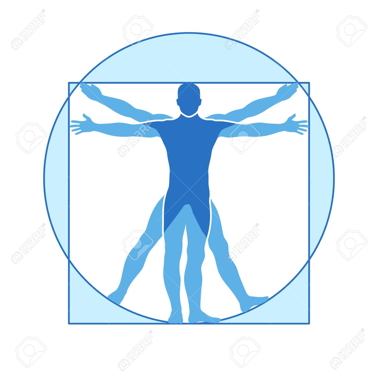 Human body vector icon of vitruvian man. Famous leonardo da vinci image vitruvian man, classic proportion form man illustration - 66411190