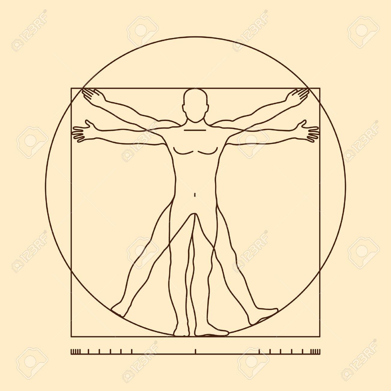 Leonardo Da Vinci Vitruvian Man Vector Illustration Of Vitruvian