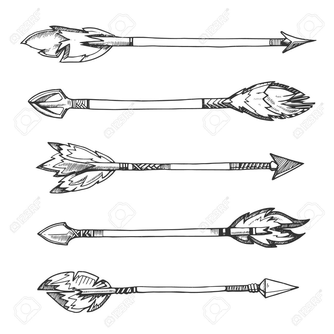 tribal indian arrows vector hand drawn decorative elements in rh 123rf com Simple Arrow Vector tribal arrow vector free download