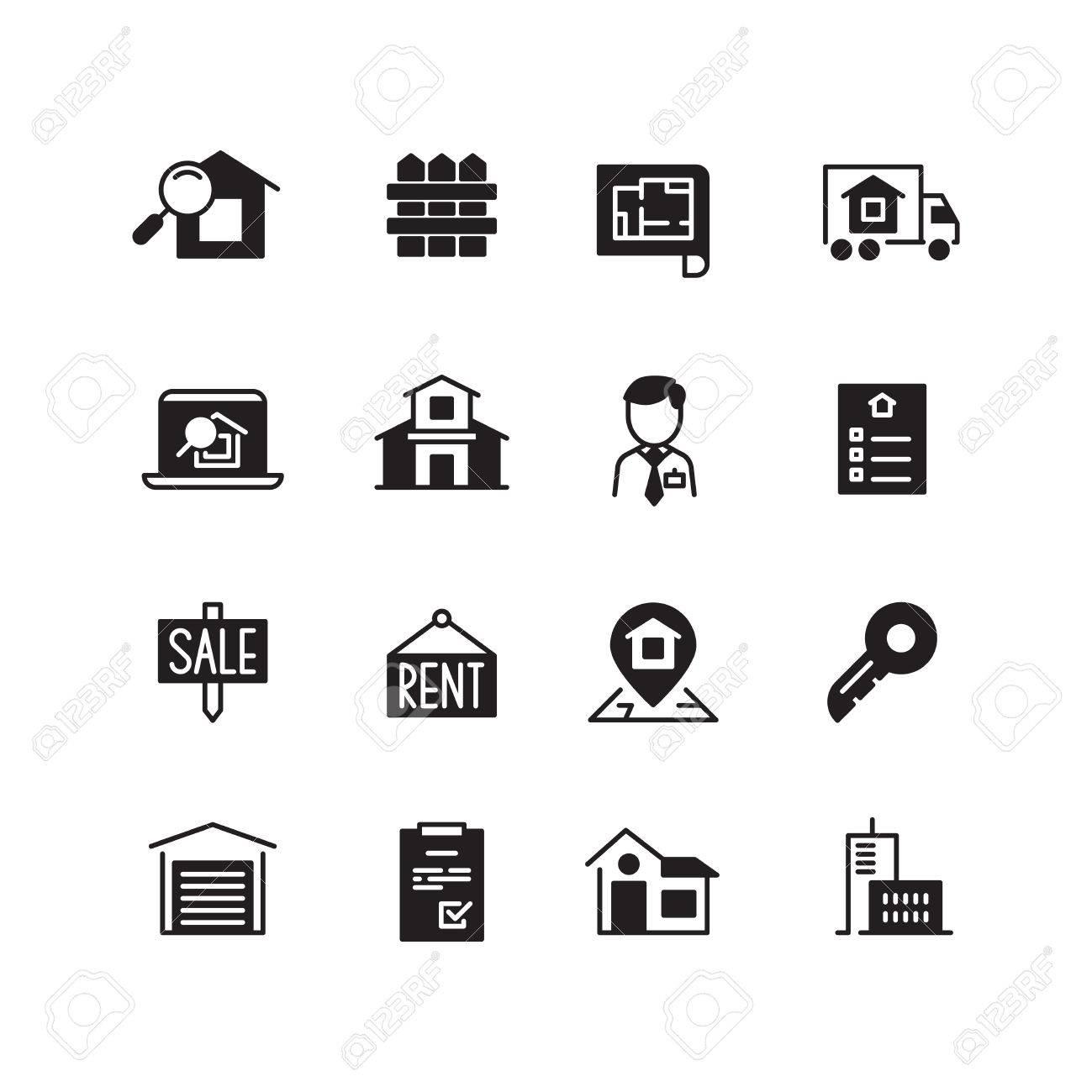 Immobilien Haus Vektor Icons Immobilien Verkaufen Haus Gebäude