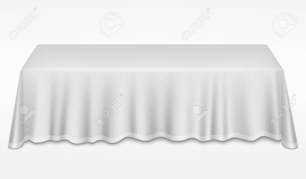Empty Dinner Banquet Table With White Cloth 3d Realistic Desk Vector  Illustration. Dinner Empty Table