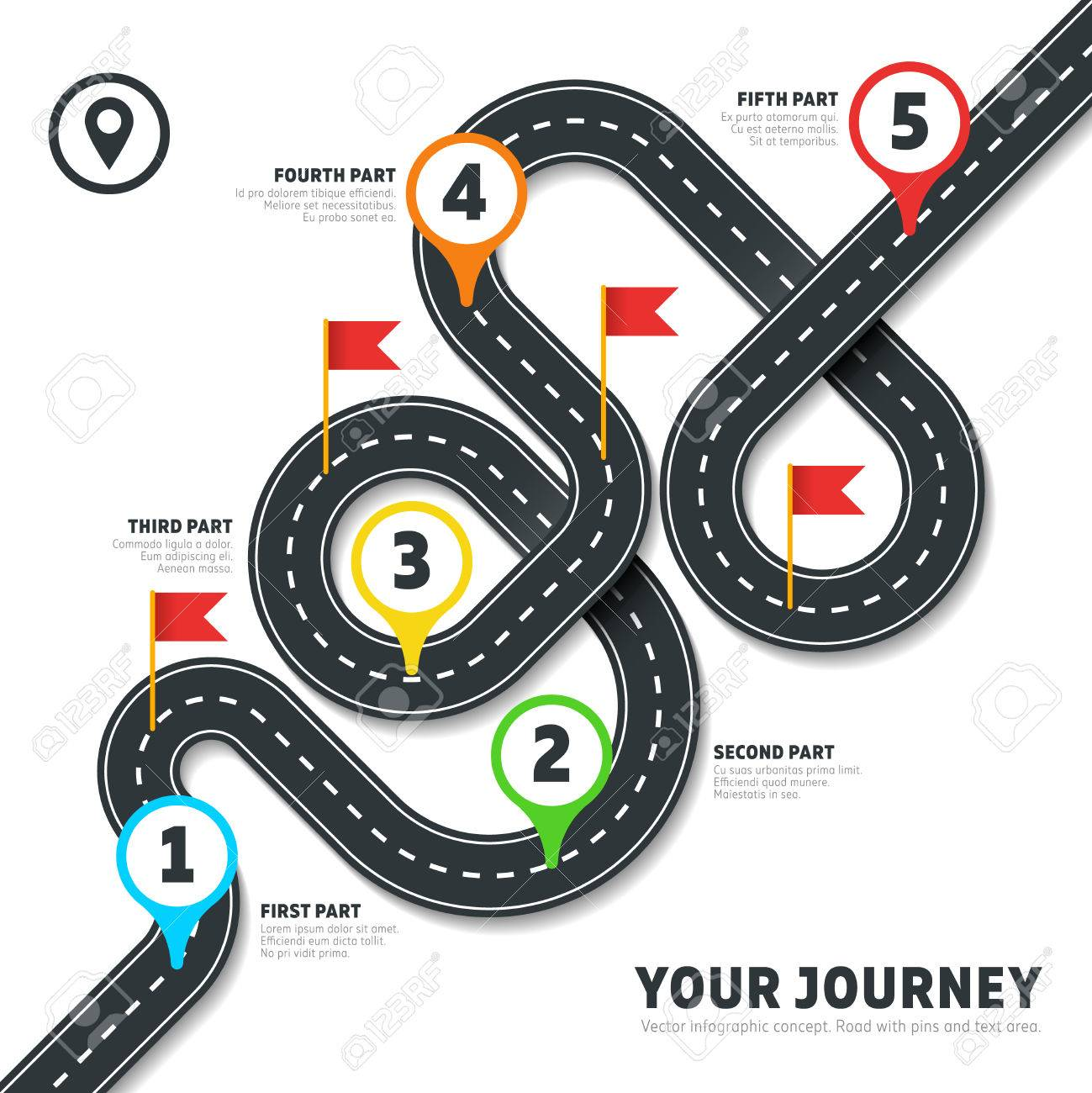 navigation winding road vector way map infographic roadmap business info plan road map for