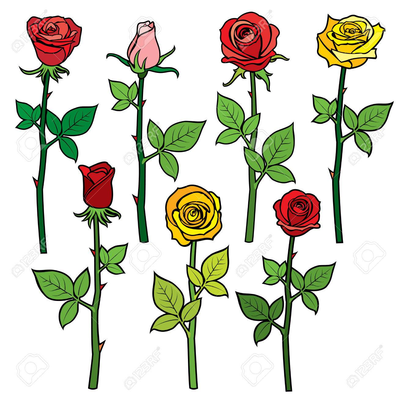Roses with flower buds isolated on white cartoon vector roses with flower buds isolated on white cartoon vector illustration colored flowers rose yellow mightylinksfo