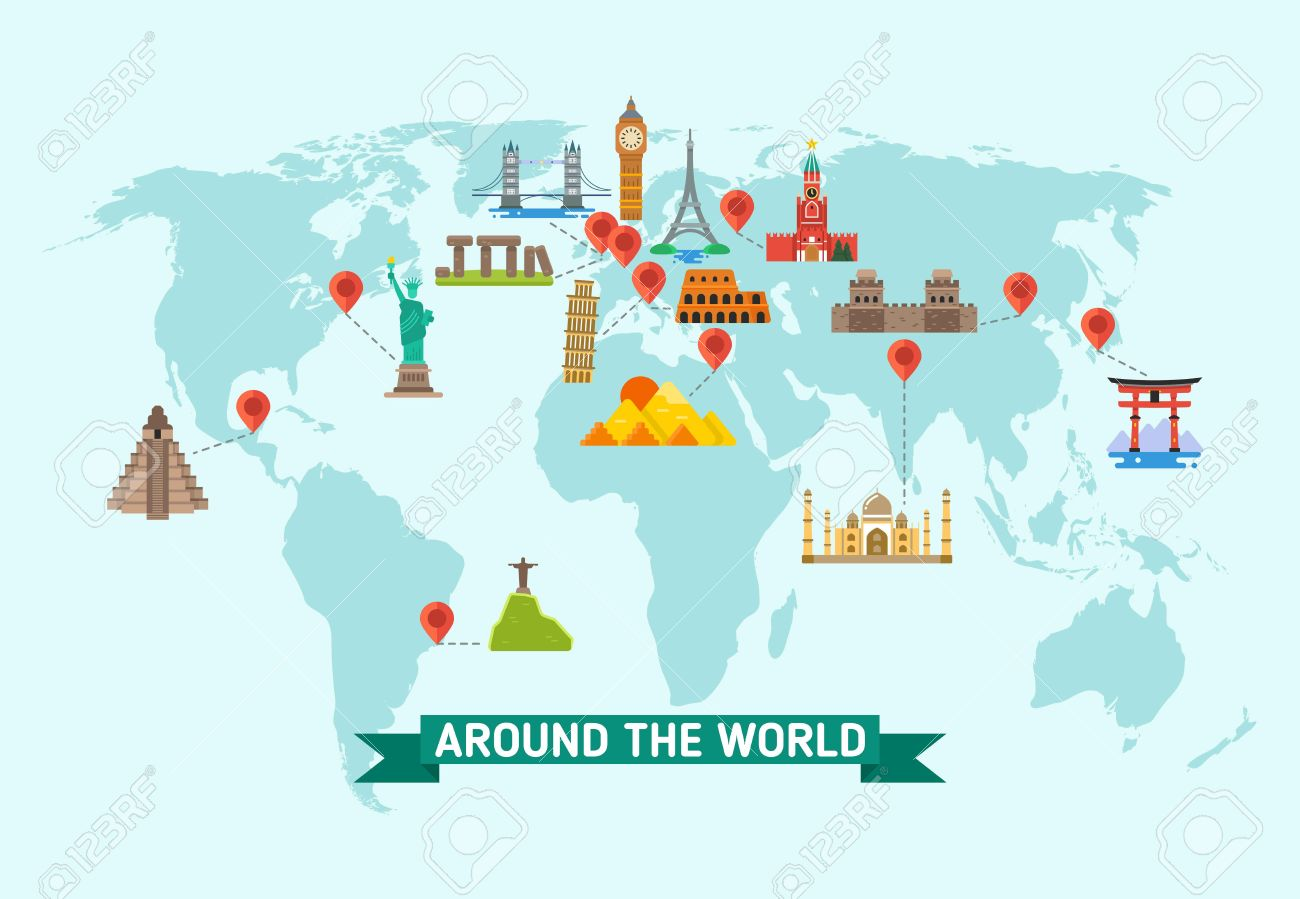 travel landmarks on world map vector illustration world monuments of architecture stonehenge and kremlin