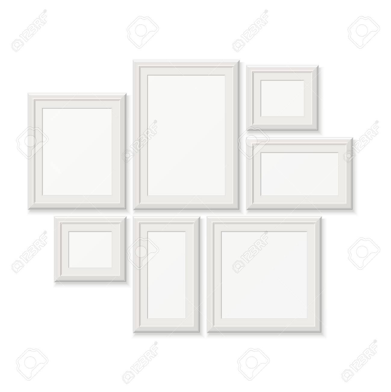 Empty white pocture frames 3d photo borders isolated on white empty white pocture frames 3d photo borders isolated on white wall set of frames jeuxipadfo Gallery