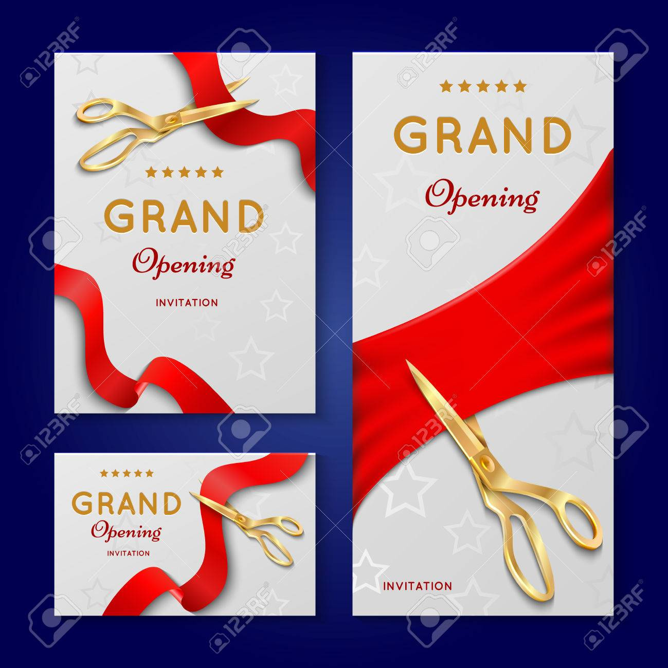 Ribbon Cutting With Scissors Grand Opening Ceremony Vector Invitation Cards Invintation Banner To Event