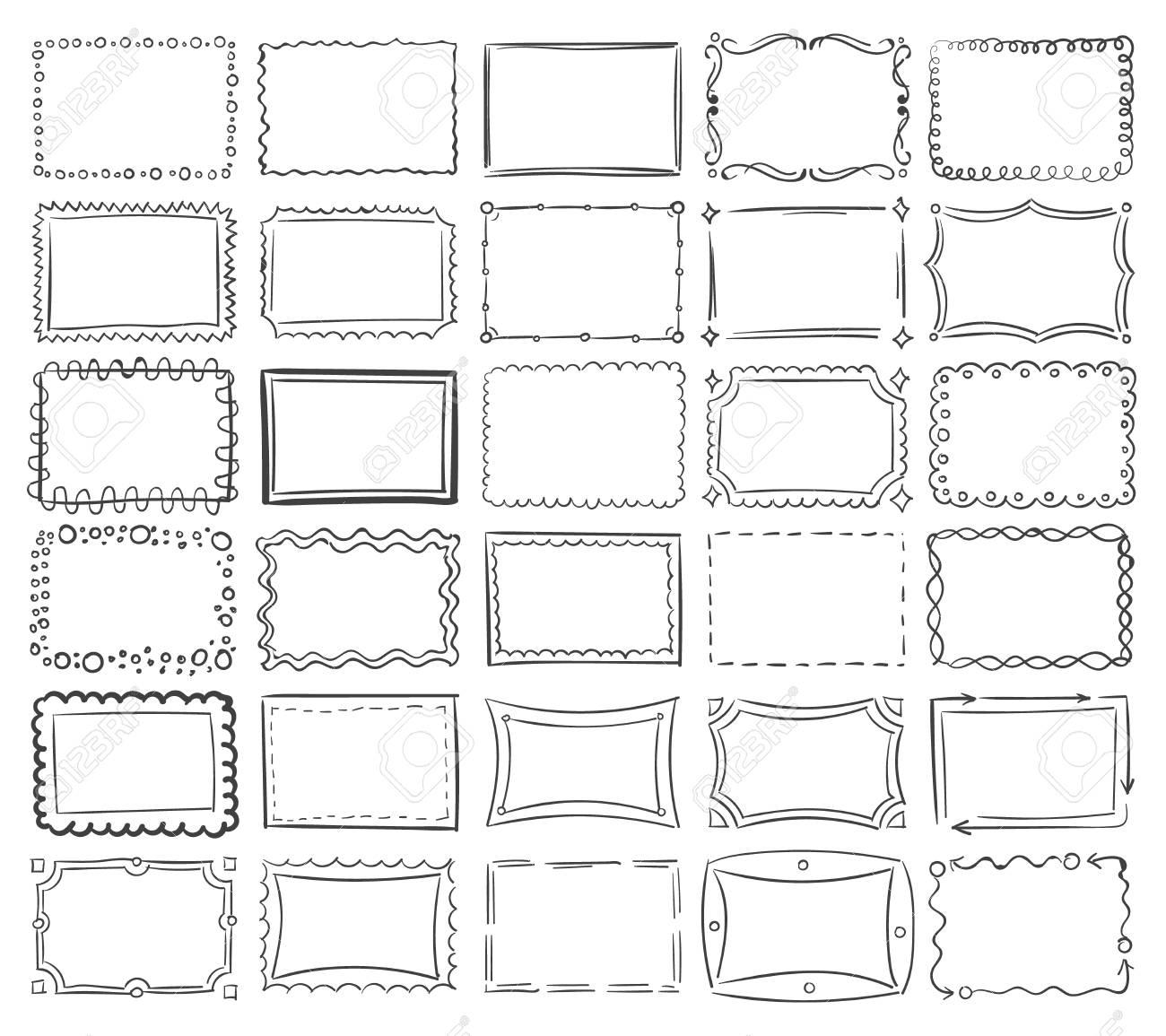 Simple doodle, sketch square vector frames. Abstract frame sketch of set illustration - 67279422