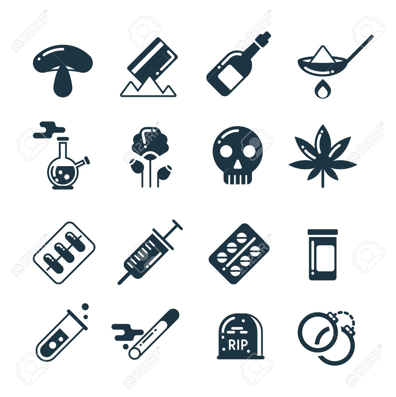 Drugs heroin alcohol smoking addiction thin line vector icons drugs alcohol pills tablet narcotic abuse vector icons cocaine and marijuana biocorpaavc Choice Image