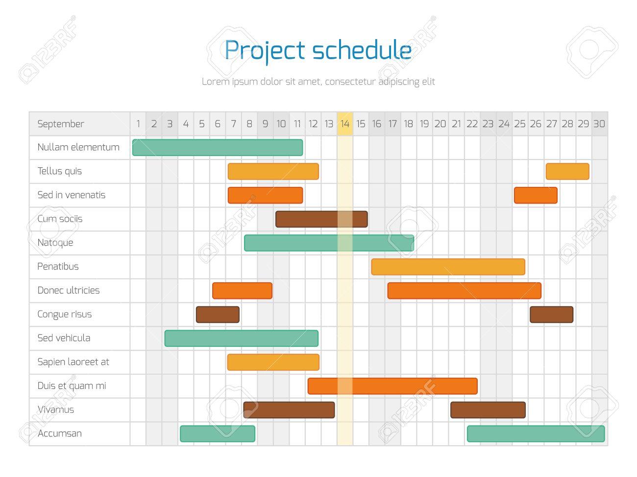 Project schedule chart overview planning timeline vector diagram project schedule chart overview planning timeline vector diagram project infographic business plan illustration stock altavistaventures Images