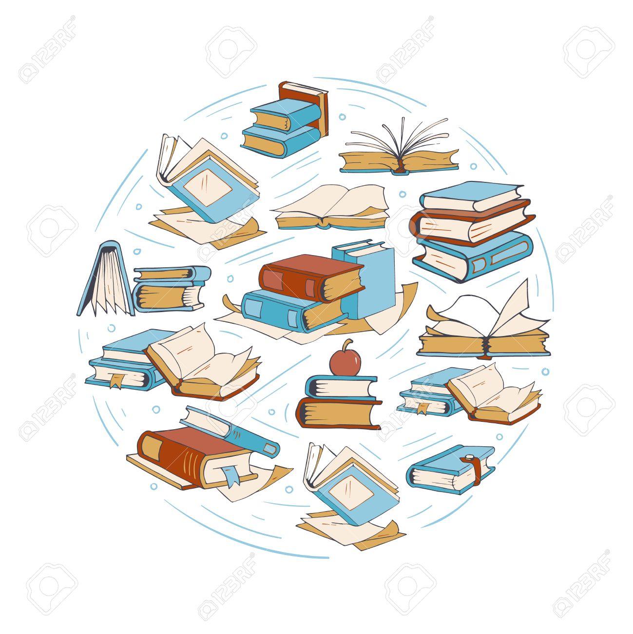 Croquis Livres De Dessin Doodle Bibliotheque Vecteur De Club Du