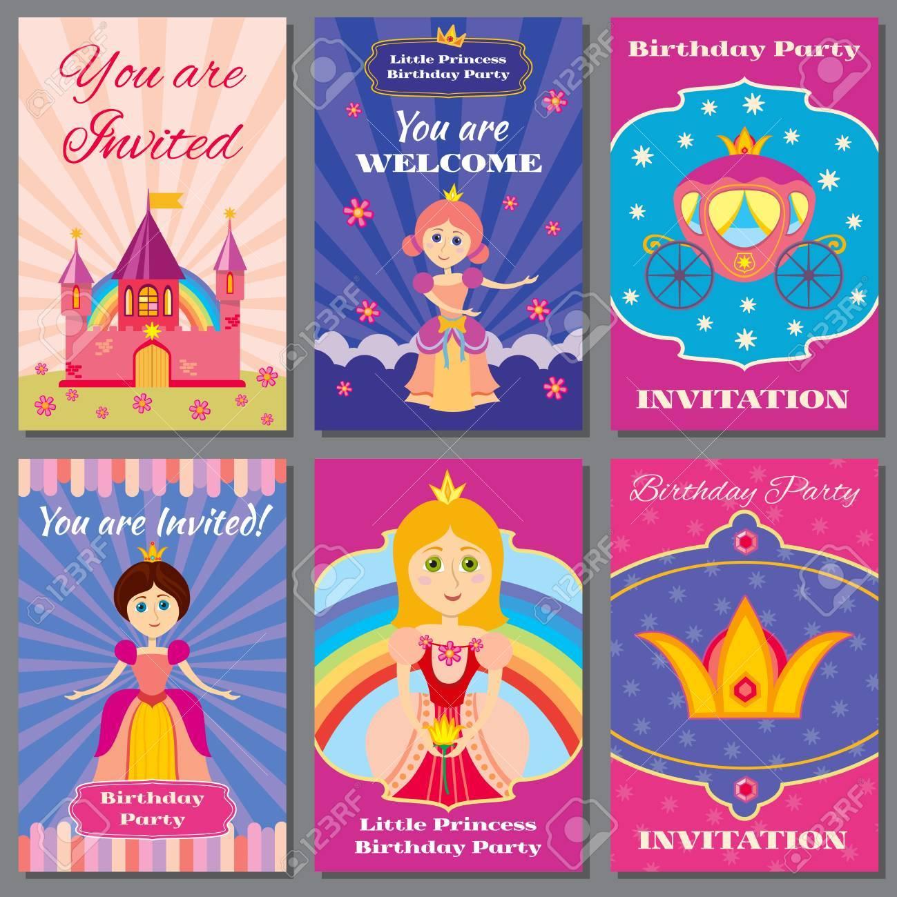 Child Girl Birthday Princess Party Vector Invitations Set Template