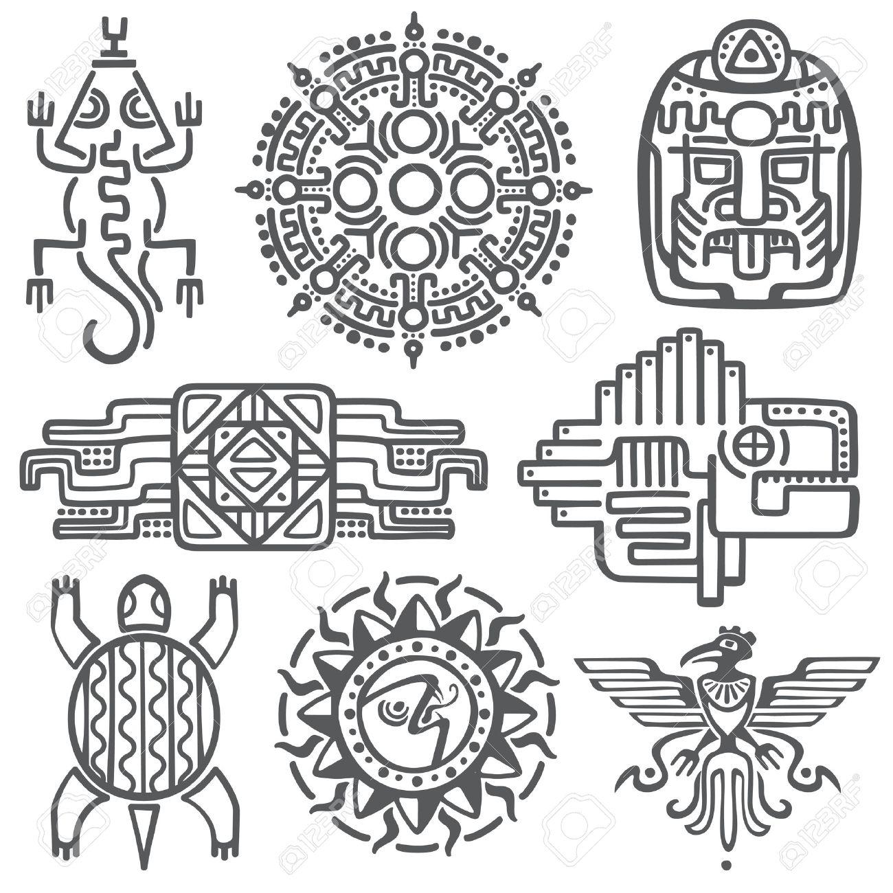 Antiguos Simbolos Vector Mitologia Mexicana Azteca Americano Totem