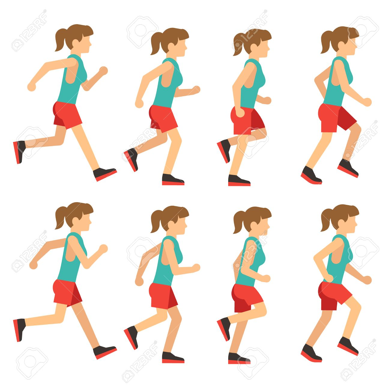 Running Woman, Female Runner Animation Frame Loop Sequence ...