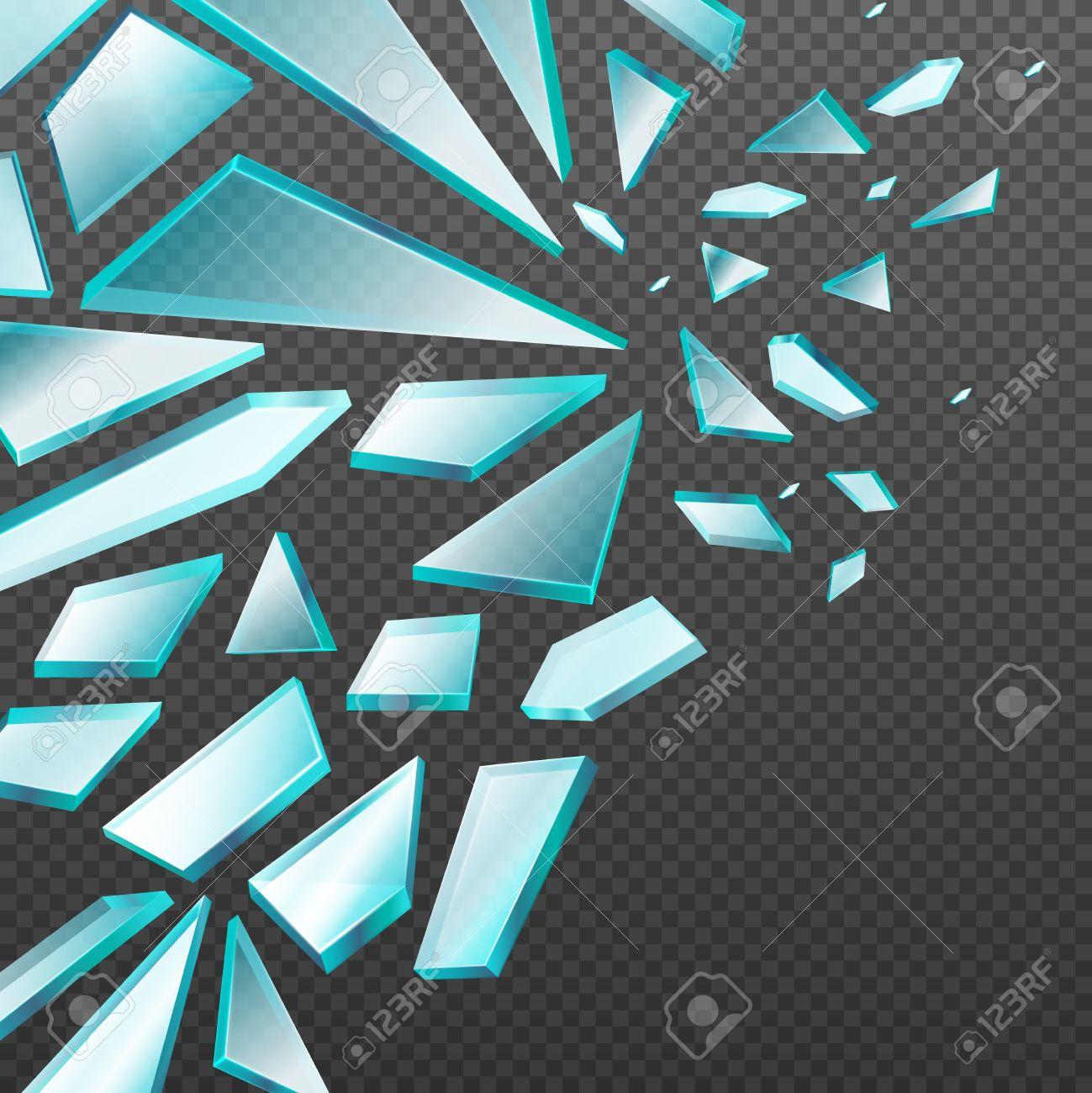 Ventana Con Vidrio Transparente Rotos Fragmentos De Vectores De ...