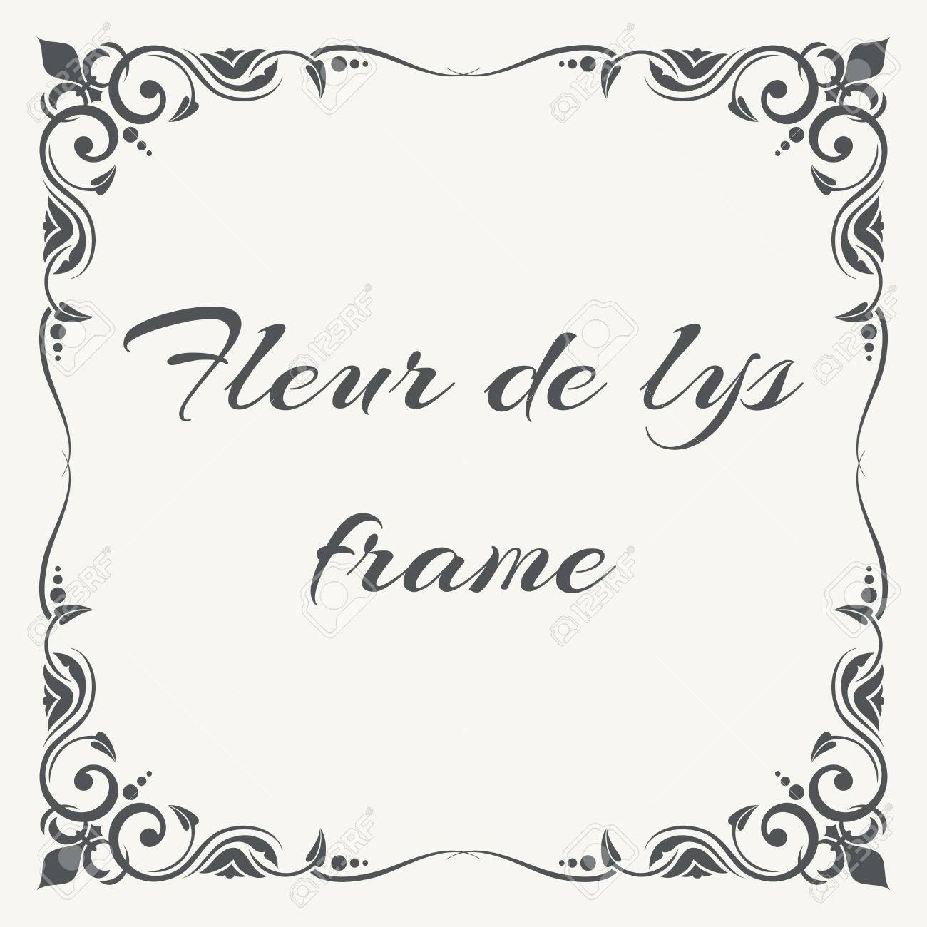 fleur de lys ornate frame white background floral frame vector
