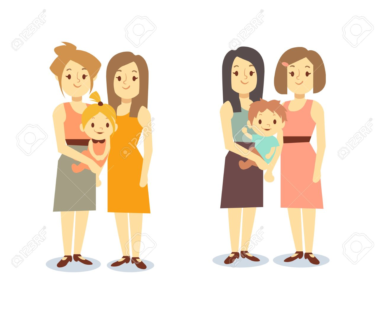 set of happy gay lgbt women families with children. lesbian family