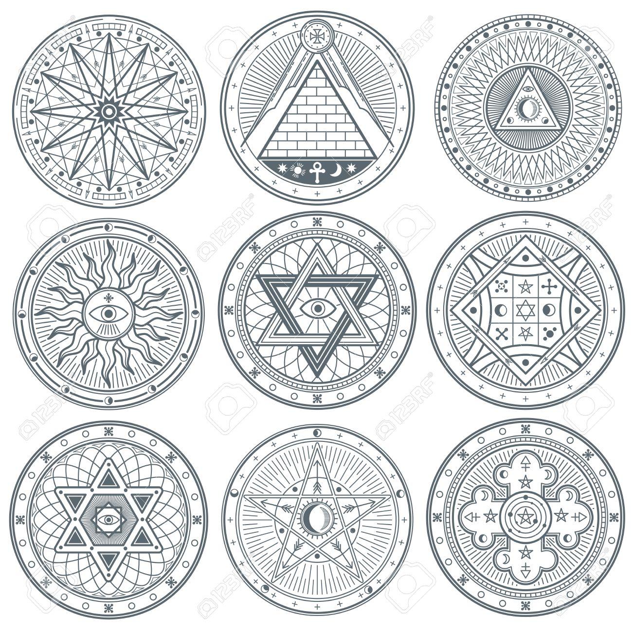 Mystery witchcraft occult alchemy mystical vintage gothic mystery witchcraft occult alchemy mystical vintage gothic vector tattoo symbols mystical biocorpaavc