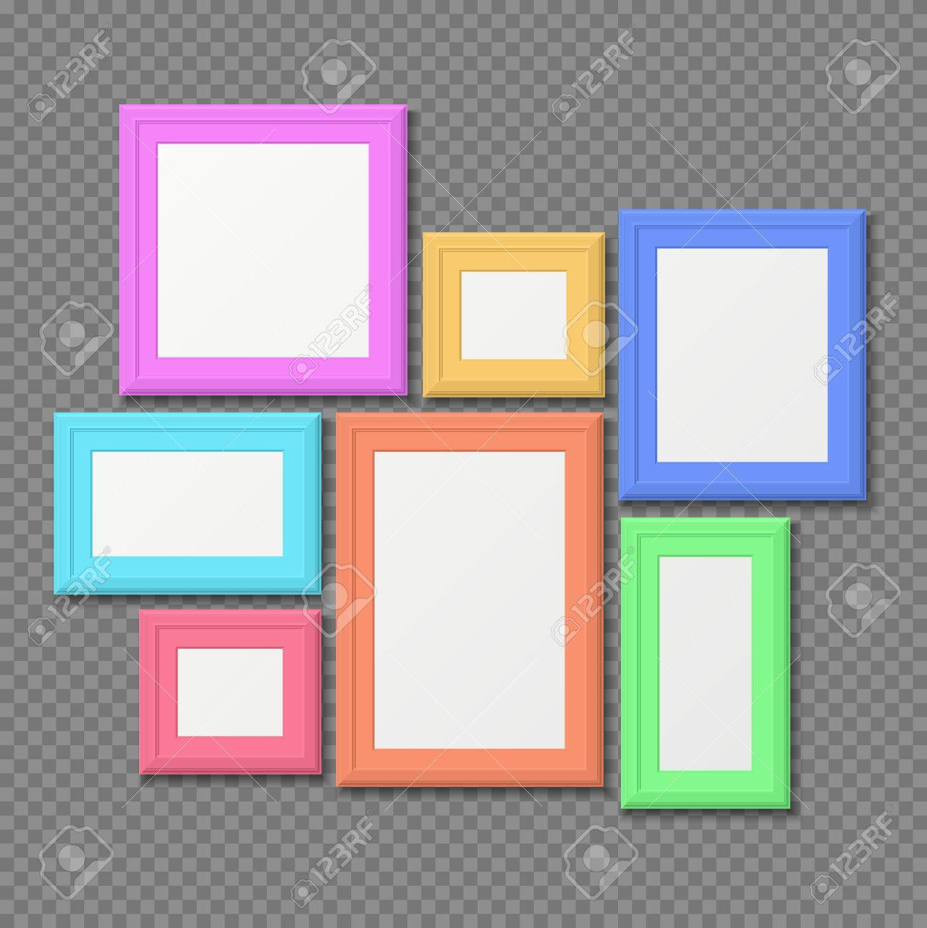 Color Rectangle Portrait Wall Frames Vector Set. Color Photo ...