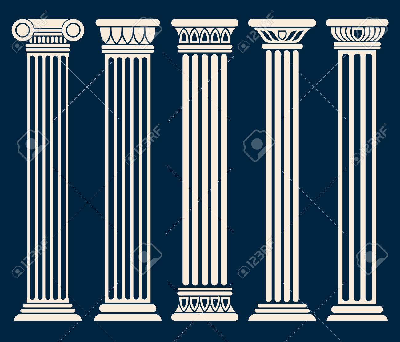 Roman Classique, Grec Colonnes D\'architecture Vector Set. Colonne ...