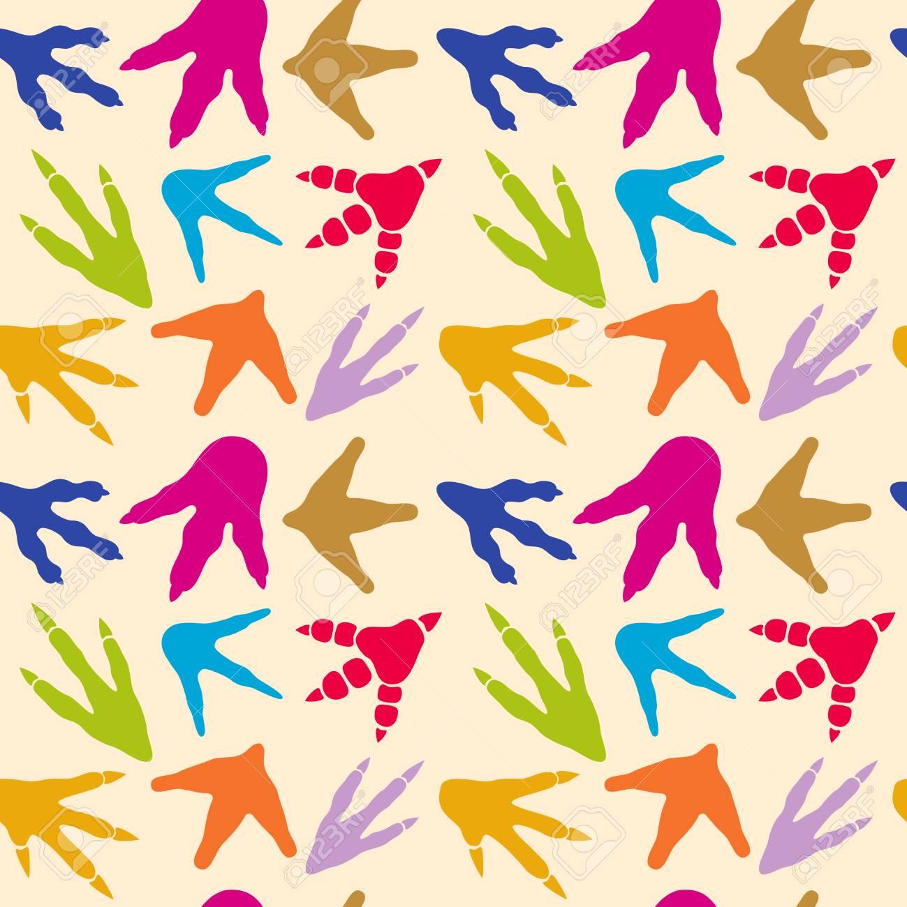 Huellas De Dinosaurio Vector De Patrones Sin Fisuras. Fondo Con ...