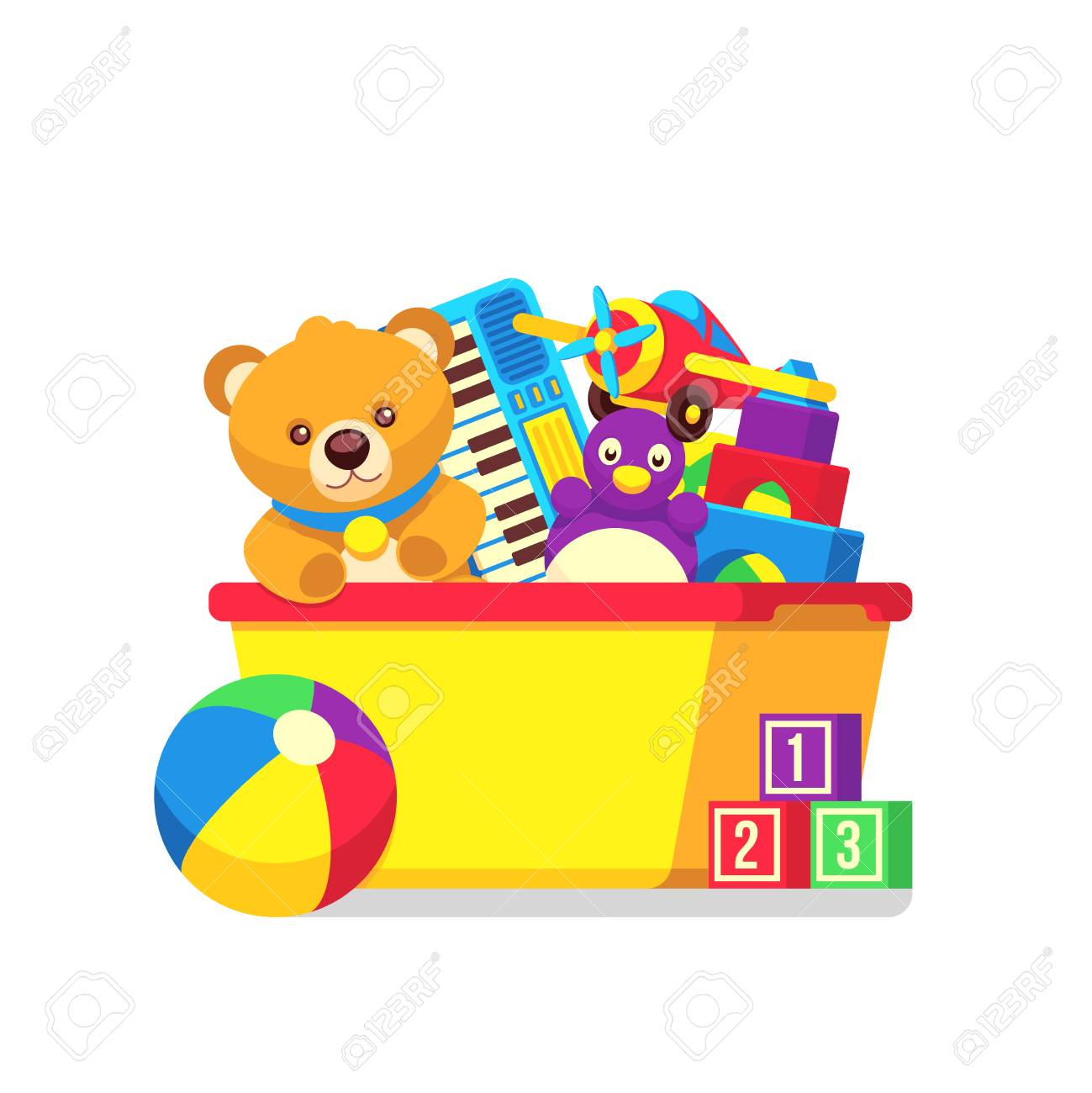 kids toys in kids box vector clipart cartoon kids toys in box rh 123rf com clipart of toys and games clipart of toy matchbox cars