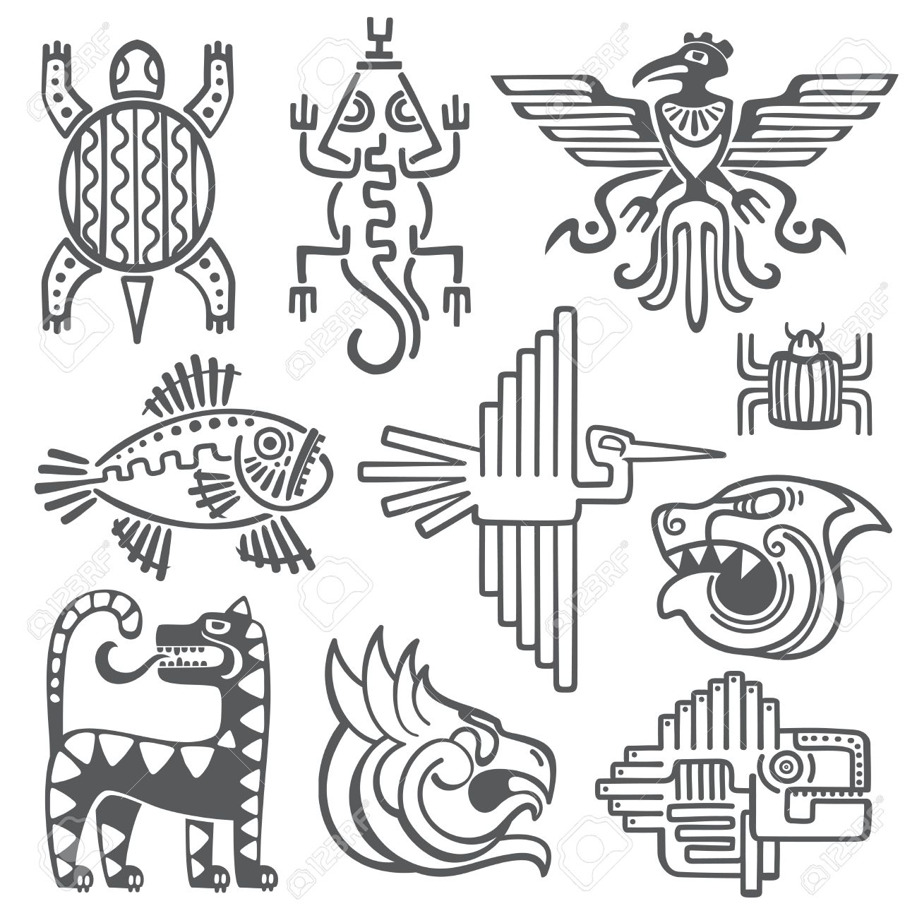 Aztec Historique Symboles De Vecteur Incas Motif Temple Maya Des Signes De La Culture Amerindienne Tatouage Anciennes Tribus Sous Forme De Resume Animaux Illustration Clip Art Libres De Droits Vecteurs Et