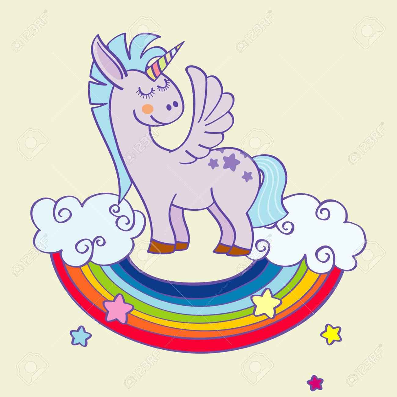 Vector Winged Unicorn Standing On A Rainbow With Clouds Mythology