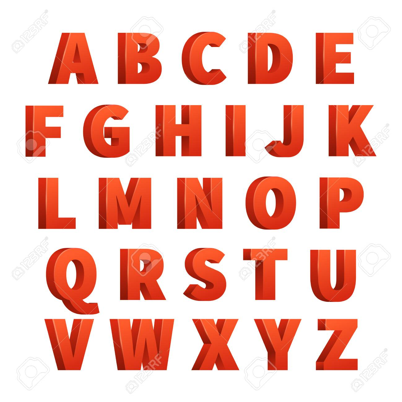 Red 3d Letters Vector Alphabet Lettering Design Of Abc Stock