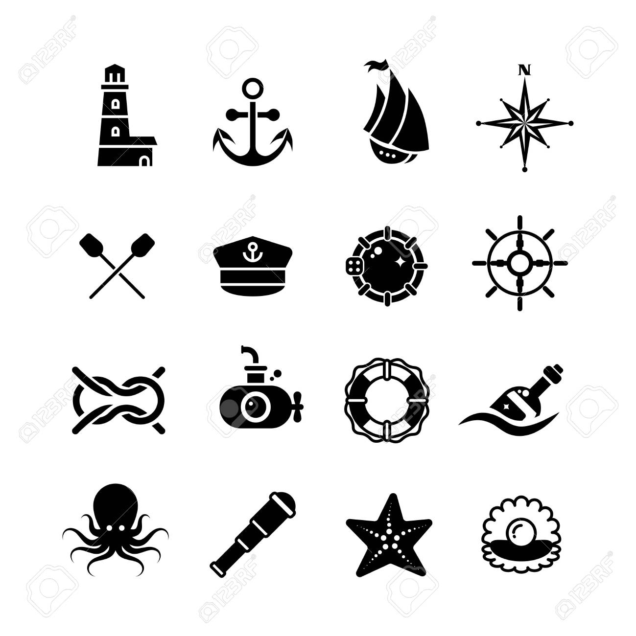 Marina Mar Náutica Pirata Iconos Retro Del Vector Marítimo