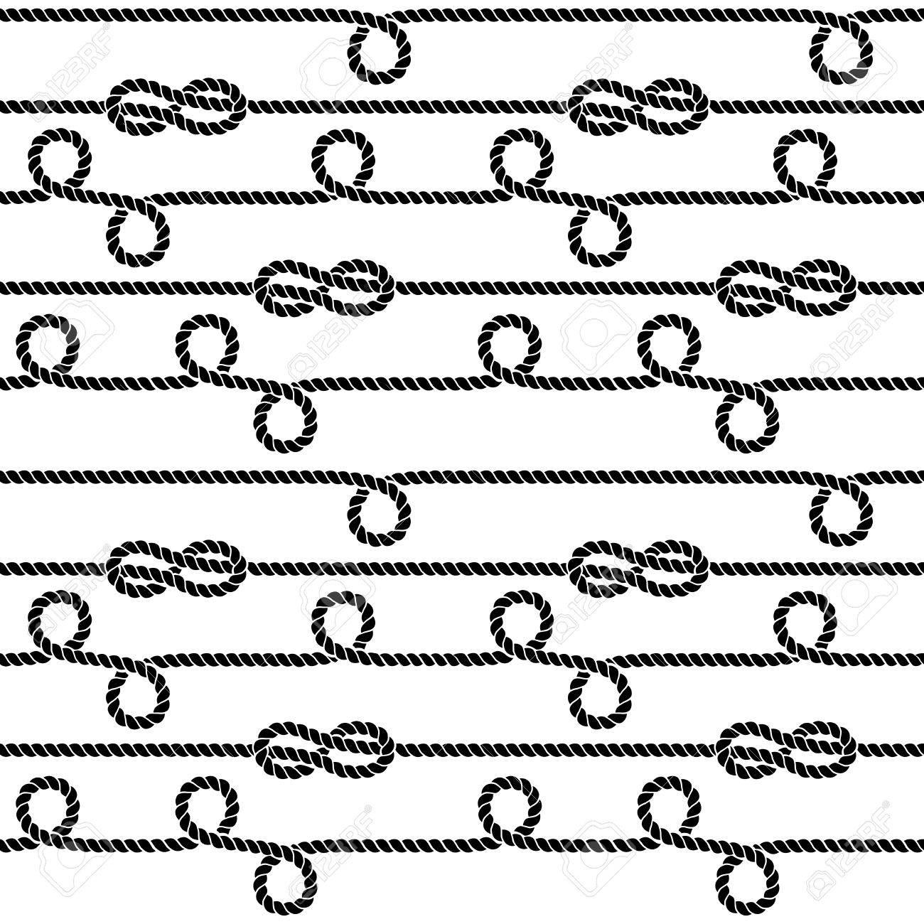 Cuerdas Náuticas Y Nudos Vector De Patrones Sin Fisuras. Ilustración ...