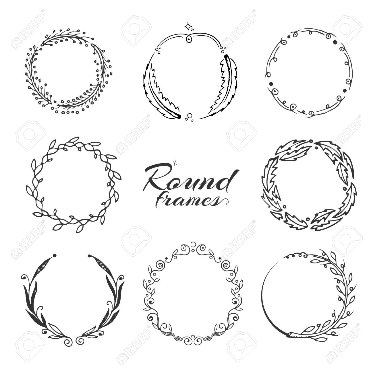 Branch With Leaves Laurel Wreath Floral Circle Frames For