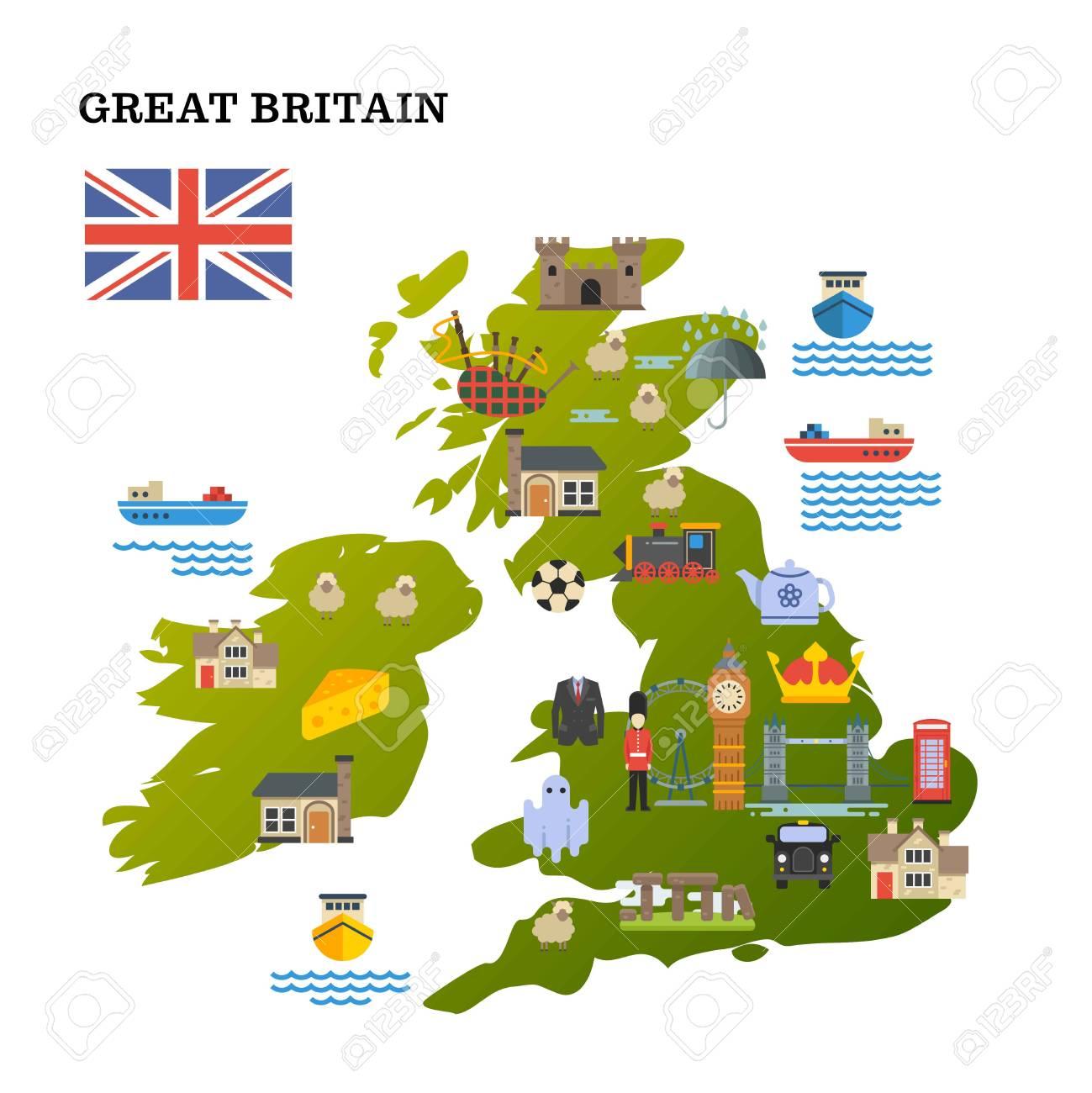Sehenswürdigkeiten Großbritannien Karte.Stock Photo
