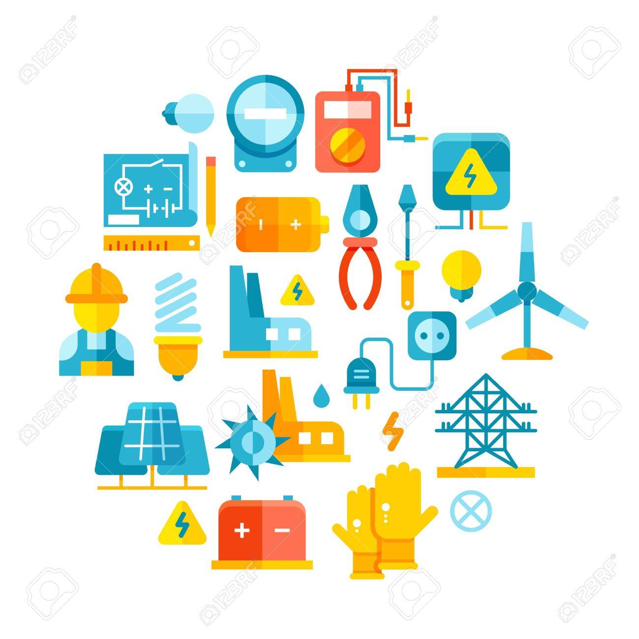 Electric Power, Electrical Lines, Electricity Vector Concept ...