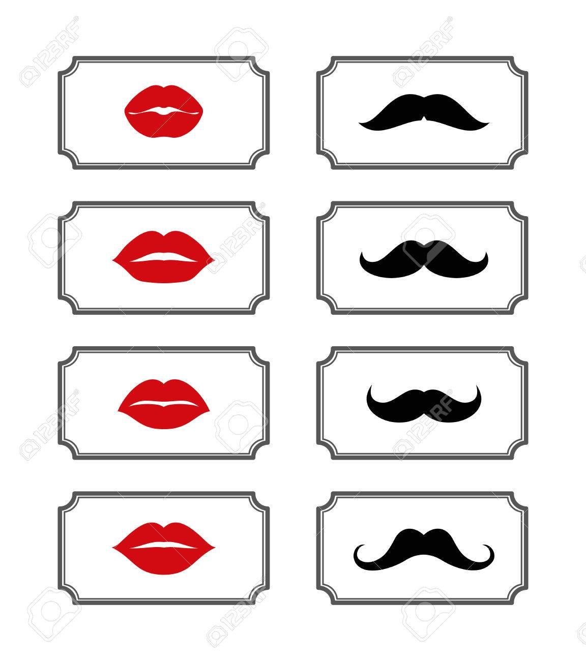 Ladies And Gentlemen Bathroom Symbols. Vector Lips And Mustache ...