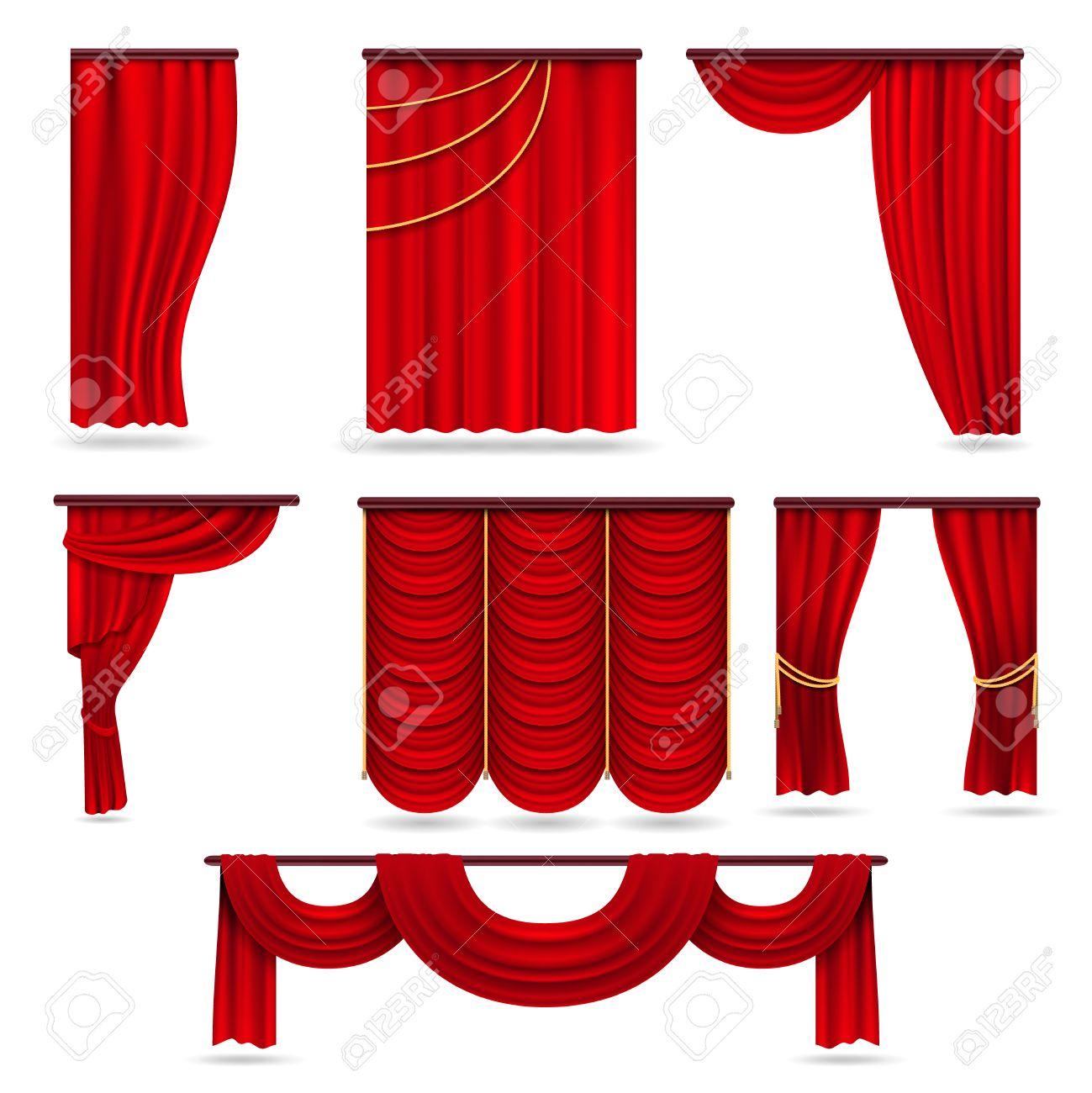 Rideaux De Scène De Velours Rouge Draperies De Théâtre écarlate