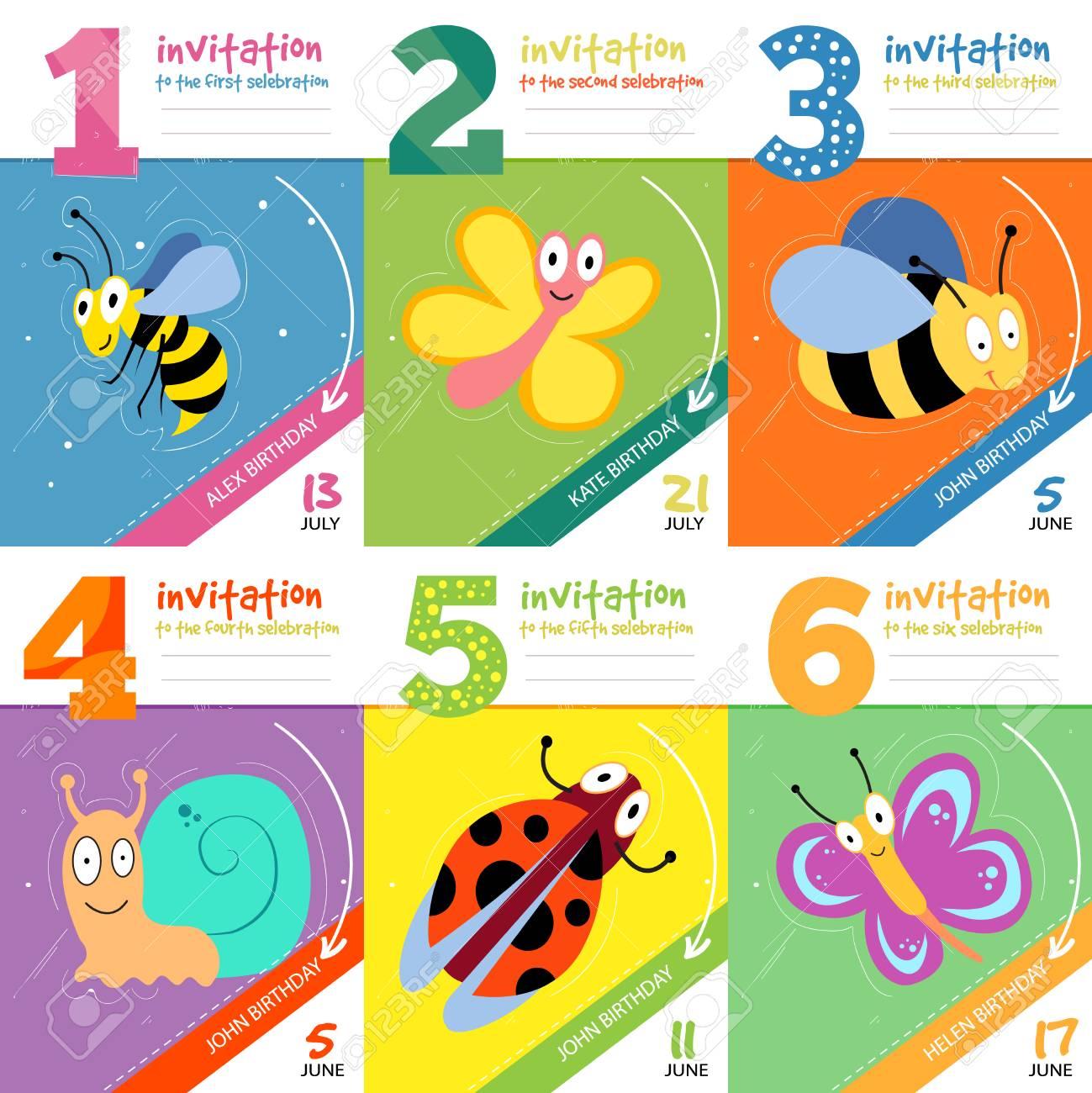 Kids birthday invitation cards with cute bugs insects vector kids birthday invitation cards with cute bugs insects vector set of invitation to birthday filmwisefo