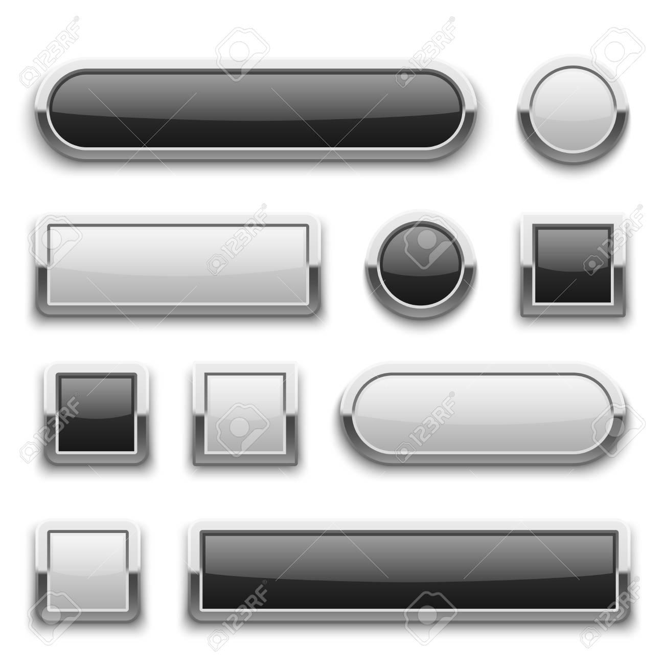 Botones Blancos Y Negros De La Tecnología 3d Con El Marco Brillante ...