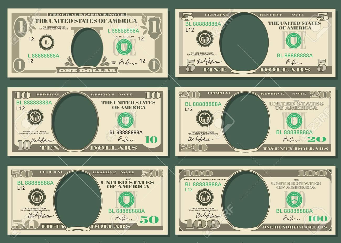 Dollar-Banknoten Vektor Geld. Schablonen Von Dollaranmerkungen Mit ...