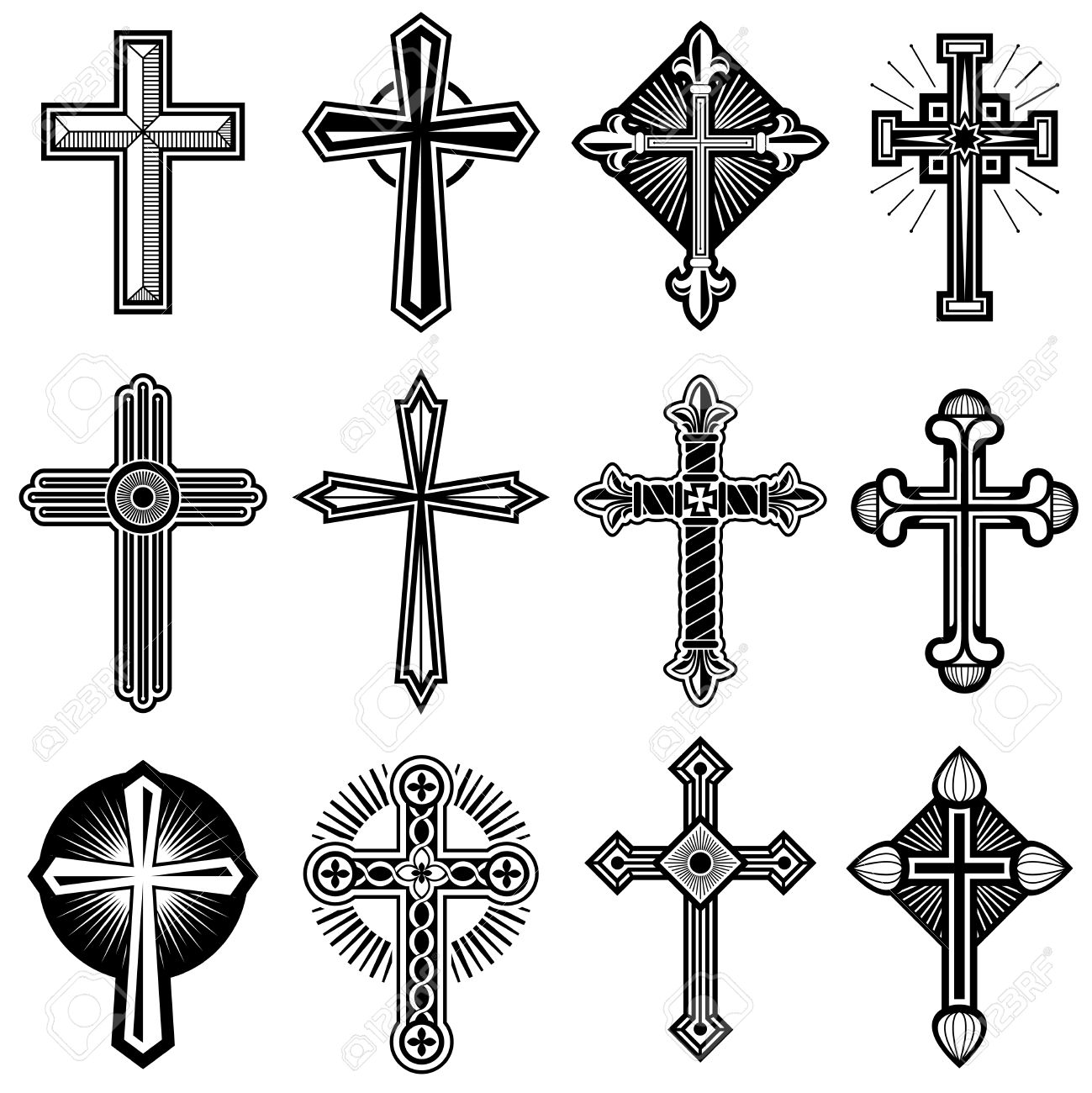 Catholic Christian Cross With Ornament Vector Icons Set Of