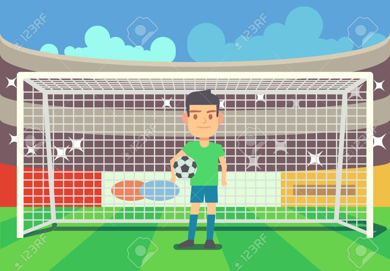Portero De Fútbol Portero En La Ilustración Del Vector De La Arena ...