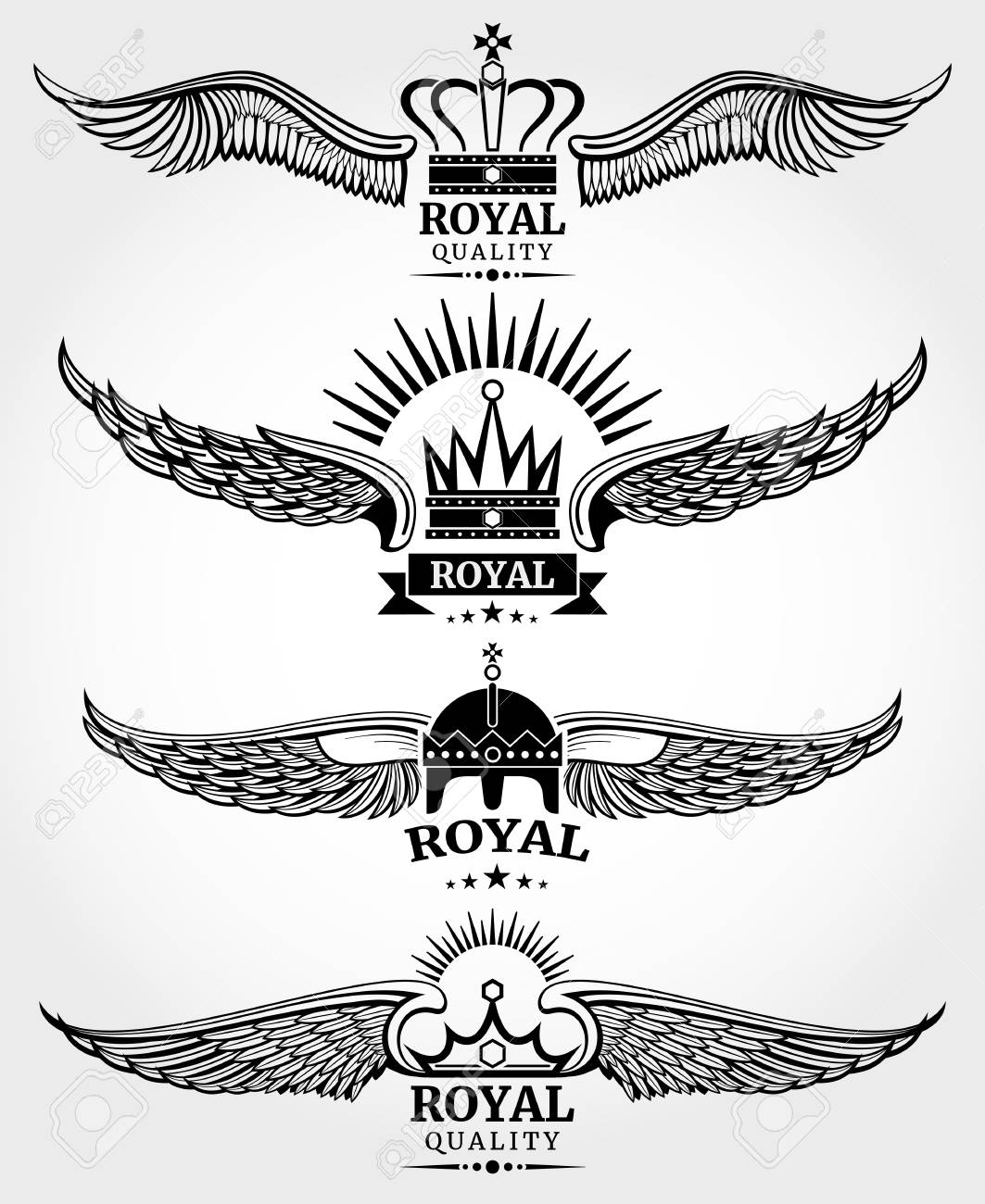 Vector Winged Crowns Royal Logo Templates Set In Black And White ...