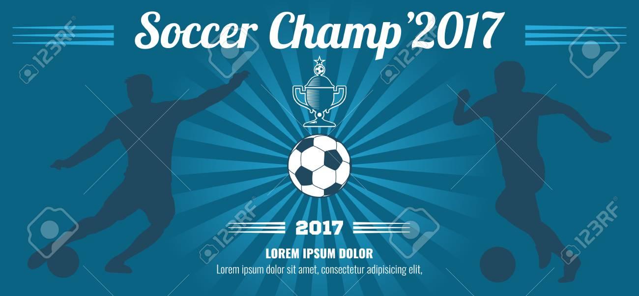 blue horizontal football soccer vector poster template sport