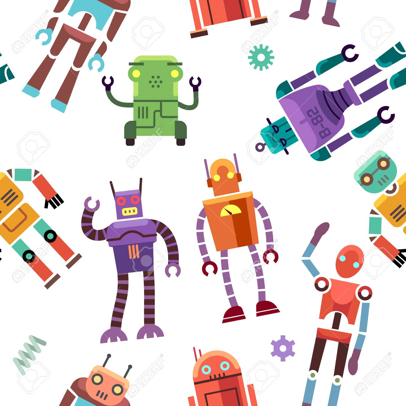 子供のおもちゃロボット ヒューマノイド 宇宙飛行士 ベクトルはサイボーグ シームレス パターン色おもちゃロボット ロボット機械のおもちゃのイラストのイラスト素材 ベクタ Image
