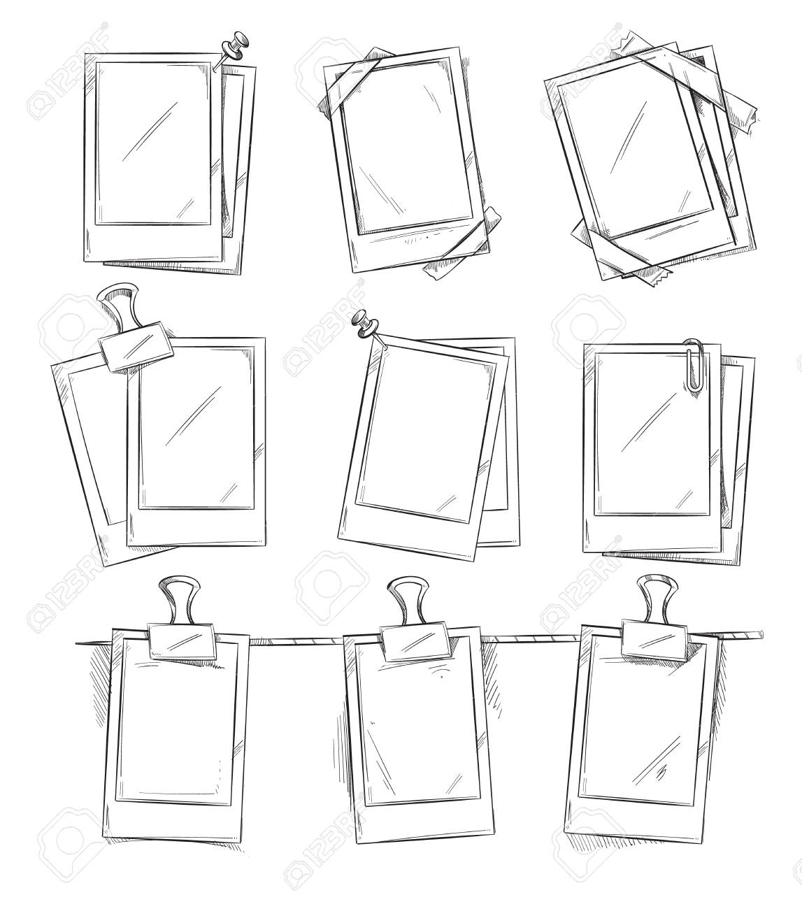Doodle Retro Photo Frames Vintage Album Hand Draw Frame Photo