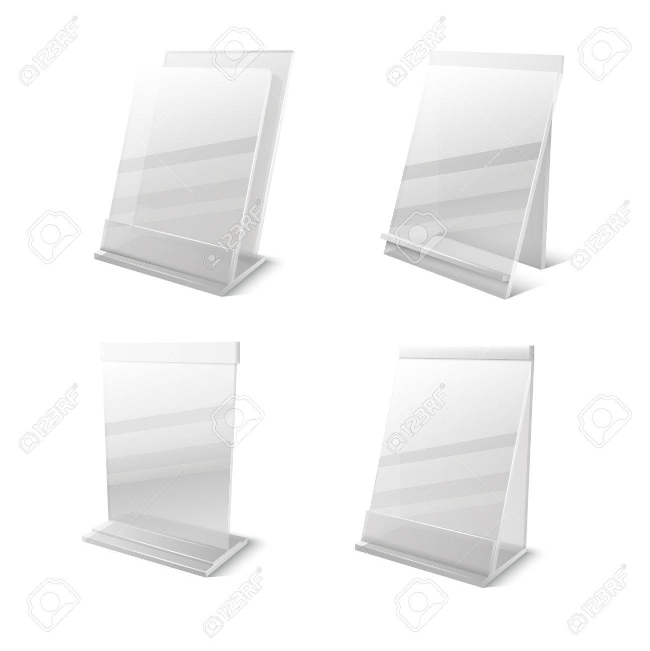 Business Information Transparent Plexiglass Empty Holders Vector ...
