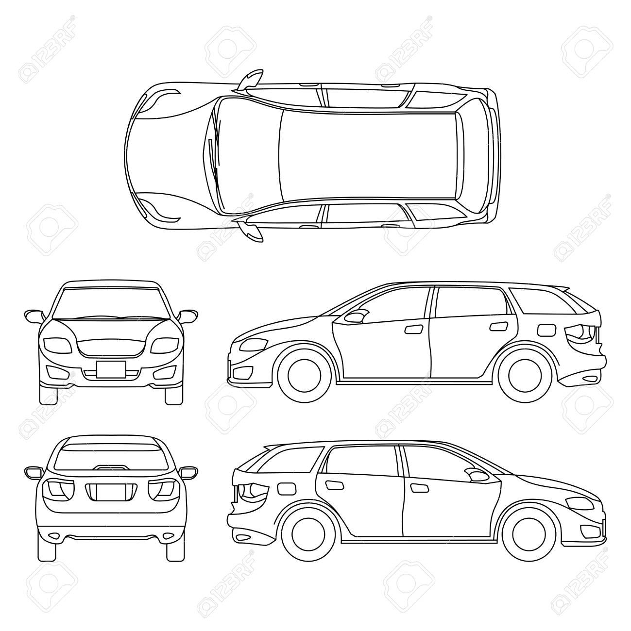 Dessin Au Trait De Vehicule Blanc De Voiture Art Informatique