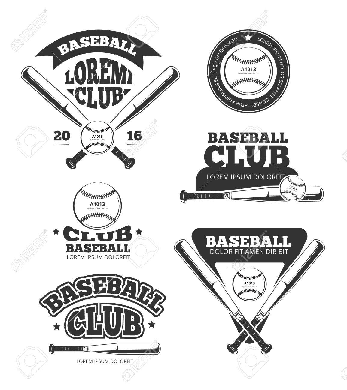 Vintage Baseball Sports Old Vector Logos And Labels Set With