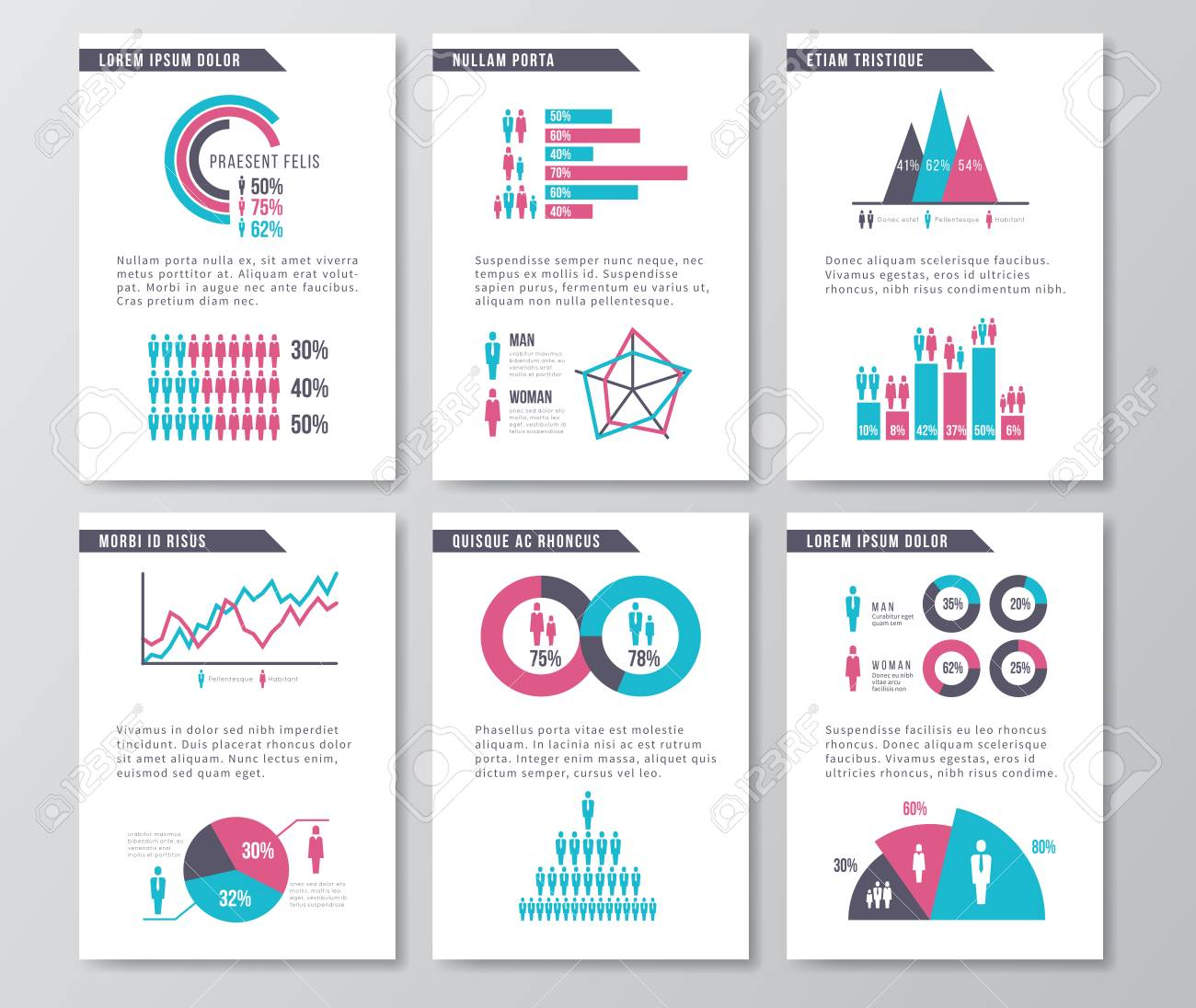 vector business infographic brochure pages with demographics stock