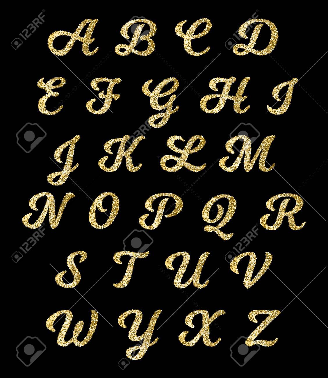 Golden glitter alphabet, gold font vector letters with sparkle