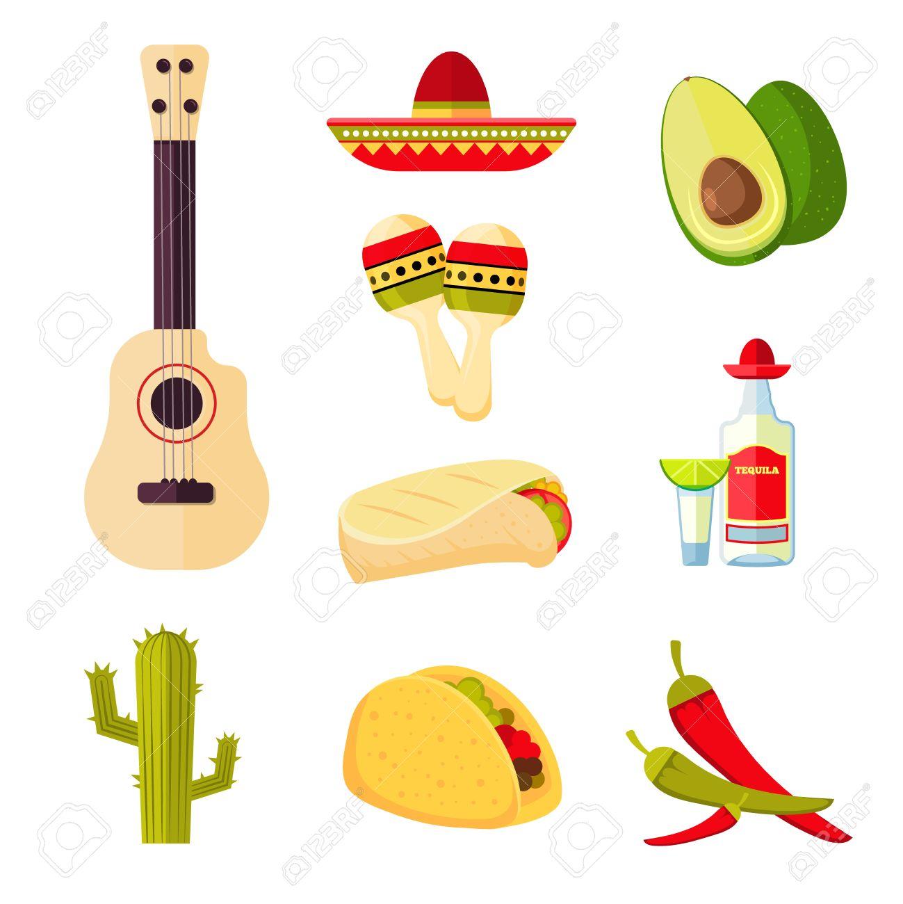 Mexikanische Küche Cartoon Gemüse, Essen Und Getränke Vektor Stock ...
